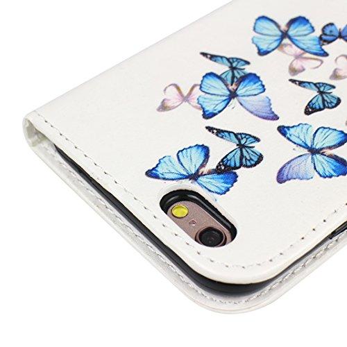 iPhone 6 Case Leder, iPhone 6S Case Leder, iPhone 6 Bumper Hülle, Moon mood® Ledertasche für Apple iPhone 6/6S (4.7 Zoll) , PU Leder Cover Hülle Folio Handyhülle Gemalt Muster Premium Bumper Tasche Ba Schmetterling