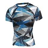 MOTOCO Herren Sports Kurzärmliges T-Shirt O-Ausschnitt Yoga Fitness Blau-weiß gestreiftes T-Shirt mit Camouflage-Print Top Casual Sports Kurzarm(3XL,Blau-2)