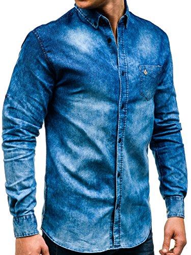 BOLF Herren Jeanshemd Freizeithemd Herrenhemd Denim Casual Jeans Mix 2B2 Motiv Blau_0493-1