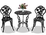 Centurion Supports Tabriz jardín y patio mesa y 2sillas de aluminio fundido Bistro Set–negro