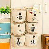 WJkuku - Organizador de pared con 6 bolsillos de tela de lino y algodón, estilo antiguo
