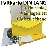 50 Stück // SET! Faltkarten + Umschläge + Einlegeblätter + silbernes Schmuckband DIN Lang in Honig-Gelb (Einleger Weiß) // Größe: 21 x 21 cm (gefaltet 10,5 x 21 cm) // 240 g/qm // Aus der Serie FarbenFroh von NEUSER!