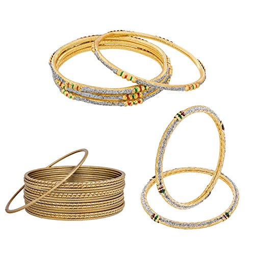 The Luxor Combo of Meenakari & Plain Bangles Set for Women - Pack of 22