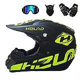 MRDEER Motocross Helm Adult Off Road Helm Unisex Motorradhelm Cross Helme Schutzhelm ATV Helm für Männer Damen Sicherheit Schutz, mit Handschuhe Maske Brille,B,S