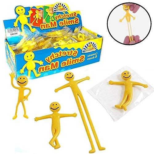 German Trendseller® - 12 x petits bonhommes jaune?smiley extensibles hommes?pour etirer et modeler? jouets élastique?petit cadeau l'anniversaire d'enfant 4251204203285