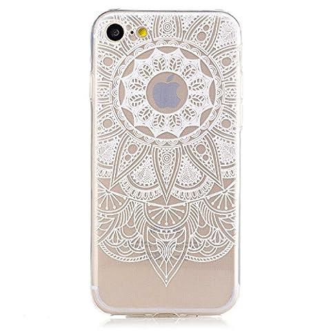 Coque iPhone 6 6s Housse étui-Case Transparent Liquid Crystal Mandala en TPU Silicone Clair,Protection Ultra Mince Premium,Coque Prime pour iPhone 6 6s-Blanc