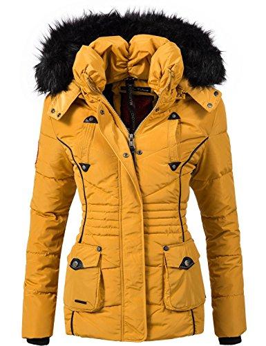 Marikoo Damen Jacke Winterjacke Steppjacke Vanilla (vegan hergestellt) Gelb Gr. L