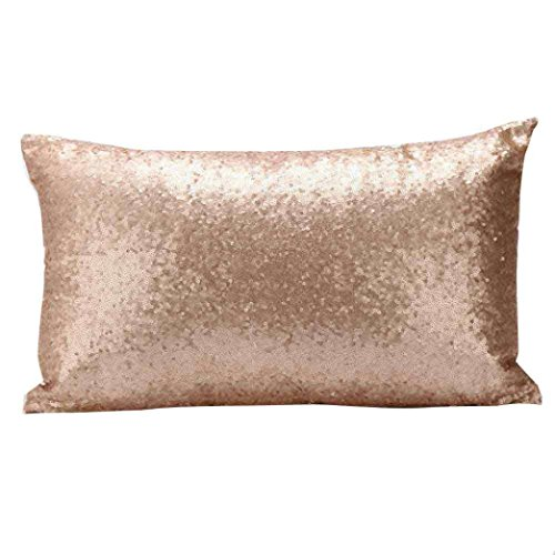Indexp Rectangle Sequins Throw Cushion Cover Sofa Home Decoration Festival Pillow case (Gold)