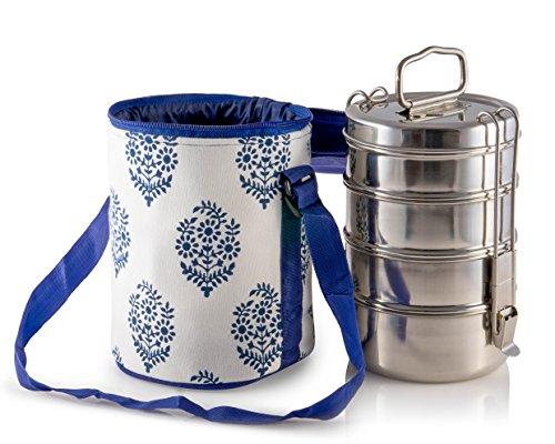 4 Deckel Große Tiffin mit thermisch getrennten Blau Gemusterte Tiffin Taschenträger