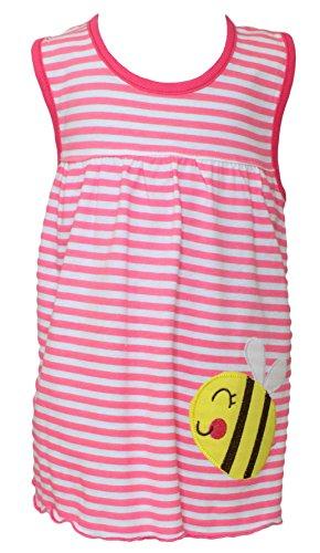Sommer SALE! Sommerkleid | Shirt-Kleid Pincess Taufkleid Modell 8 rot gestreift mit Bienchen