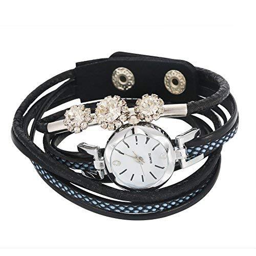 Dilwe Armbanduhr Frauen Elegante Armband Uhr Rhinestone Runde Vorwahlknopf Quarz mit PU Bügel(Schwarz)
