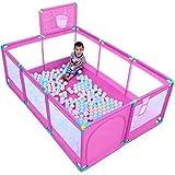 Großes Baby-Laufgitter Mit Mit Basketballkorb/Bälle Faltbare Kinder Spielen Stifte 10 Panel Kinder-Aktivitäts-Center-Raum Ausgestattet Fußmatten (Farbe : Pink)