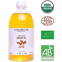 500 ml Aceite de Argán Bio 100% Puro concertificado Ecológico ECOCERTprimera Presión en Fríopara Pelo & Piel - El Argán Original de Marruecos