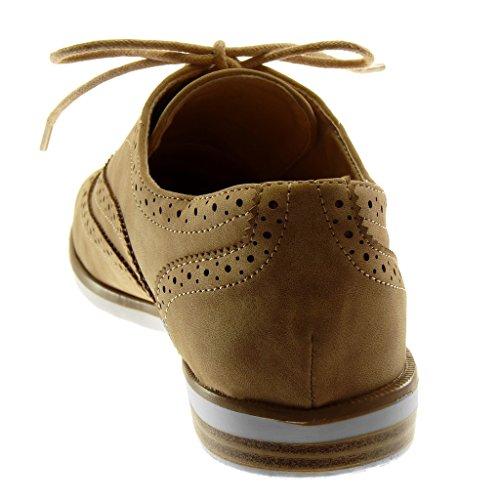 Angkorly Damen Schuhe Derby-Schuh - Perforiert Blockabsatz 2 cm Camel