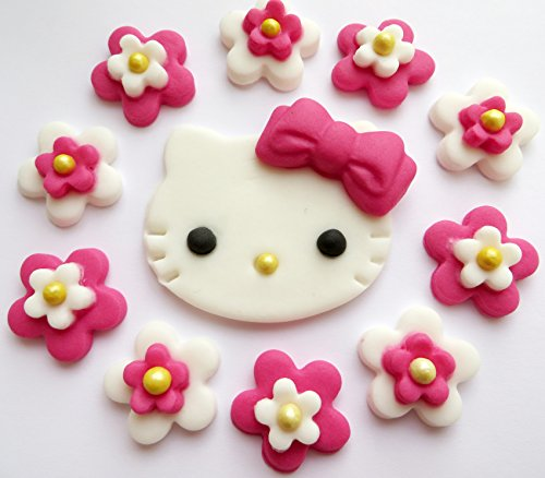 (Hell rosa Hello Kitty Essbare Zucker Kuchen Topper Dekorationen)