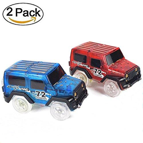 MIGE Spielzeug Auto Spur Led Licht Auto Im Dunkeln Leuchten Zubehör Kompatibel mit den Meisten Auto Rennen Magic Tracks,Ideal Für Childs Geschenke(Packung von (Kostüm Lego Familie)