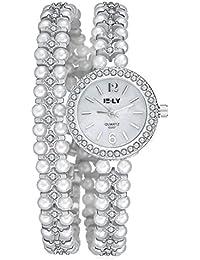 Moda Relojes de Mujer Relojes de Cuarzo Reloj de Pulsera de Rhinestone y Perla Relojes de Lujo Correa de Aleación Pulsera de Mujeres Relojes, Plata