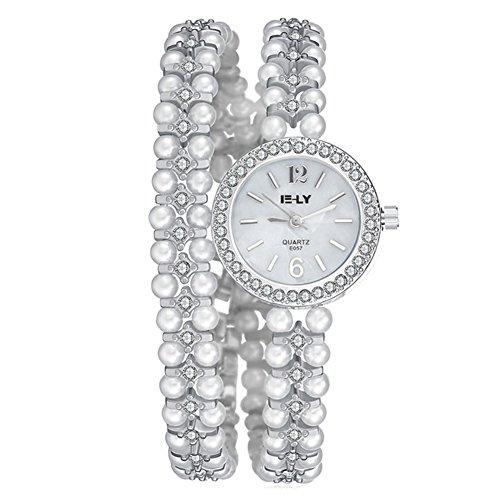 Mode Damenuhren Quarzuhr Legierung Legierung Uhrenarmband Luxux Perlen Strass Armband Uhr Kleid Armbanduhr Armbanduhren für Damen Armbanduhren für Mädchen, Silber Damen-uhren Mit Dunklem Gesicht