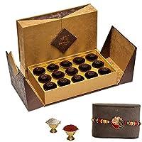 De'Arco Chocolatier Premium Luxurious Rakhi Gift Chocolate Box, Real Dark Chocolate Gift Hamper for Rakhi, 15pcs + Free 1 Rakhi + Free Roli Chawal