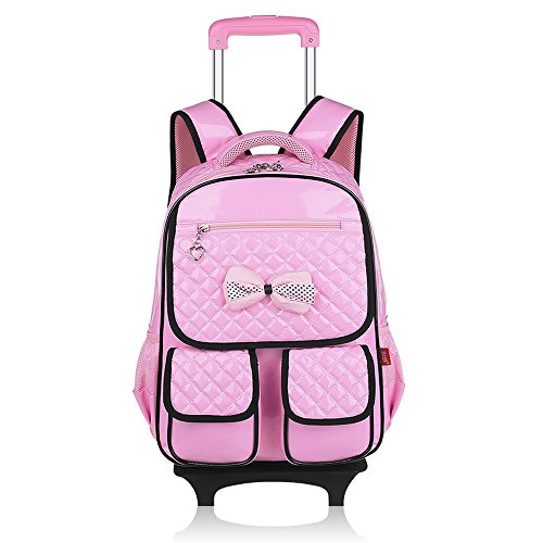 BOZEVON Jungen Mädchen wasserdichte Nylon Schultaschen mit Radfahrer Hand, Gepäck Taschen, Kinder Reisetaschen, Wandertaschen, Schultertaschen für Studenten Rosa Schmetterling