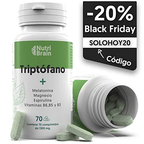 Natural Triptófano con Melatonina y Espirulina | 70 Comprimidos | Fórmula...