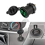 TiooDre Charge 3.0 USB Charger Car Power Socket Outlet with LED Switch Waterproof Marine Dual USB Cigarette Lighter Socket Adapter 36W QC 3.0 Fast Charge for 12V/24V Boat Motorcycle SUV Bus Truck, Green