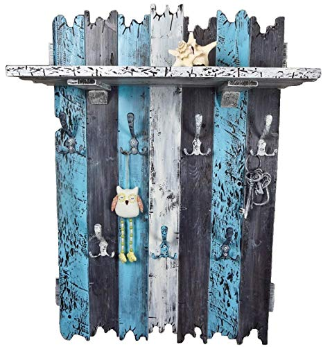 SHaBBy CHic ViNTaGe XXL Holz Garderobe mit 7x3 Metallhaken blau grau weiß (HXBXT: 115x7ox15 cm) aus Echtholz/Massivholz im used look rustikal Landhaus Stil (alternativ: Gaderobe, Gardrobe)