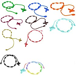 PPX 10 Piezas Cruz con Buena Suerte Hecha a Mano Cuerda Cuerda Trenzada Ajustable Pulsera para Mujer,10 Colores