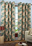 Homefab India Candy Plain Modern 2 Piece Eyelet Polyester Long Door Curtain Set - 9ft, Aqua