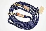 Hundeleine Tau 250cm Dark Blue/Sand/Messing