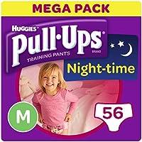 Huggies pull-ups de la noche tiempo–pantalones de entrenamiento para el orinal para las niñas, tamaño mediano, 56 unidades