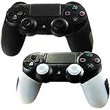 DOTBUY Flexible silicona protectora caso grueso mitad para Sony PS4 Game controlador x 2 + 2 Pairs of Replacement Joystick Thumbstick Caps