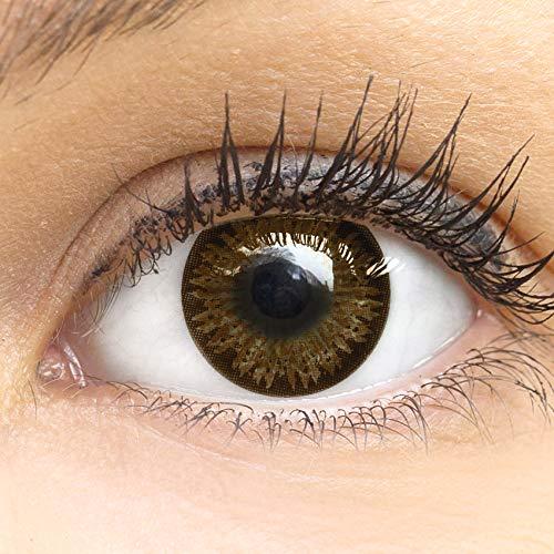 Dunkelbraune Farbige Kontaktlinsen Choco Dunkelbraun Sehr Stark Deckende SILIKON COMFORT NEUHEIT von GLAMLENS + Behälter - 1 Paar (2 Stück) - DIA 14.50 - ohne Stärke 0.00 Dioptrien