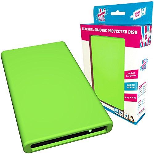 HipDisk externe Festplatte 1TB (6,4 cm (2,5 Zoll), USB 3.0) HD-GR-1TB mit austauschbarer Silikon-Schutzhülle stoßfest grün
