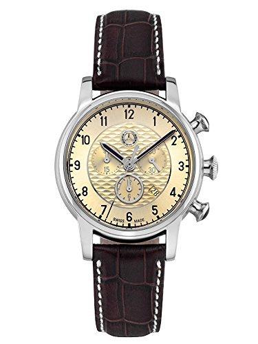 Armbanduhr Herren, High Classic braun / beige, Edelstahl / Leder