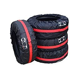 Tire Tote Cover Bags Pydersp Cute 4Pcs Universal 210D Thickness Life is Good Spare Tire Wheel Tyre Protection Covers Storage Bags for Car Suv Off Road Truck Bus Vans Set of 4 Red L Dia 80CM/31IN