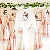 Initial Floral Personalised Bride Lace Wedding Dressing Robe Bridesmaid, Maid of Honour, Flower Girl Wedding Gown