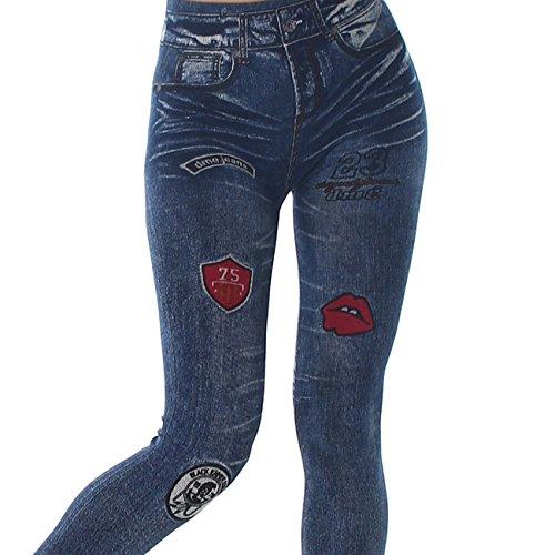 Damen Jeggings Jeans-Look-Leggings Blau Jeggins in veschiedenen Designs (Washed, Used, Detroyed, Ripped) Einheitsgröße (34/36/38) von Jela London Punky Marine