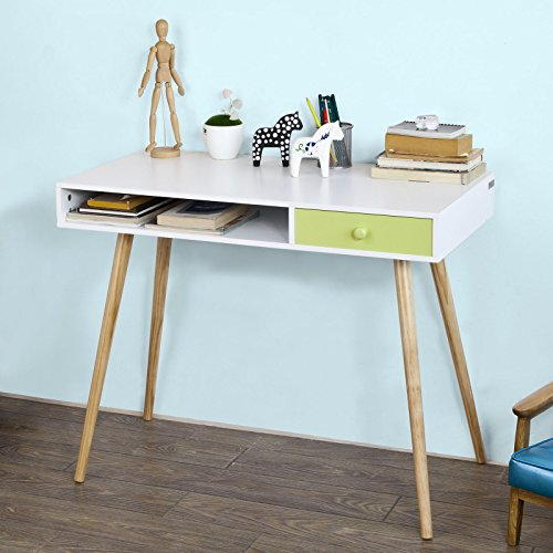 Sobuy® scrivania con due cassetti,porta pc,tavolo per computer, fwt24-w,it