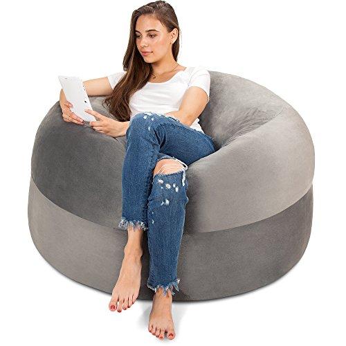 XXL Sitzsack in Silbergrau - Gemütlicher Velour Bezug mit Weicher Memory Schaumstoff Füllung – Riesen Bett, Großes Sofa, Gaming Sitzkissen Sessel, Sitz Sack für Kinder, Teenager & Erwachsene