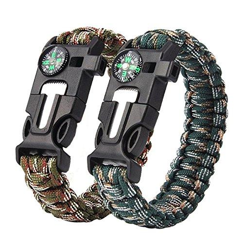 Braccialetto di sopravvivenza in paracord [2 pezzi], bracciale di sopravvivenza 5 in 1 con acciarino, bussola, fischietto, accendere il fuoco, corda 3 metri, confezione con 2 bracciali