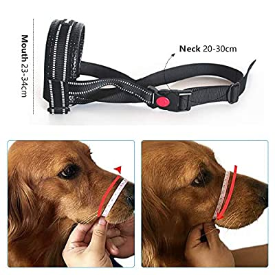 Zwini Dog Muzzle Size 6 Adjustable Loop Soft Muzzle for Medium Large Dog Prevent from Biting Chewiing and Barking (XL, Black) by Zwini