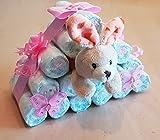Windeltorte rosa für Mädchen, Hasenhaus, Hase im Haus, Windeln