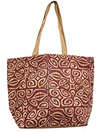 Serene Full Size Multi-Purpose Jute Shoulder Bag- Printed Jute Bag (Maroon)