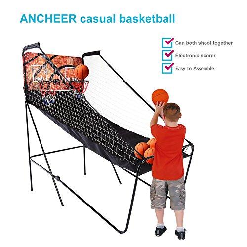 begorey Electrónico Tiro de Baloncesto de Doble Plegable Juguete de Baloncesto Indoor Basketball Arcade 200 x 111 x 207cm con 5 Balones