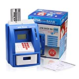 Excelvan ATM Digital Bank Mini Home Kids Smart Toys, Automated Calculating Money Bank with Password, Coin Note Money Counting Savings Machine with Saving Account Program