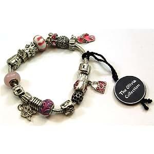 TOC BEADZ - Traumhaftes Armband mit rosa Schmuckelementen bzw. Sammelelementen und Charms - CL1339