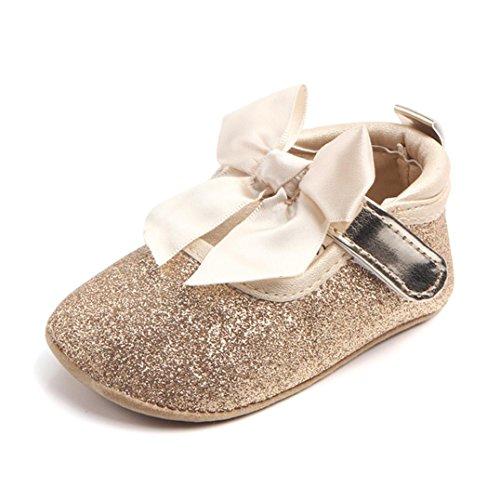 Booties Mode (OverDose Unisex Baby Sneakers, Mode Art und Weise Baby Mädchen Weiche Alleinige Bling Bowknot Anti-Rutsch Prinzessin Schuhe Krippe Schuhe (6-12 Monate, Gold))