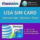 Most SIM - Carte SIM AT&T USA 10 Jours, Internet Haut Débit/Appels/SMS/illimités, AT&T Carte SIM US États-Unis...
