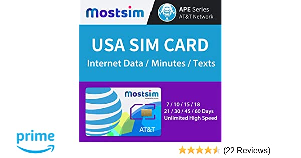 MOST SIM - AT&T USA SIM Card 7 Days, Unlimited High Speed Data/Calls/Texts,  AT&T network for USA
